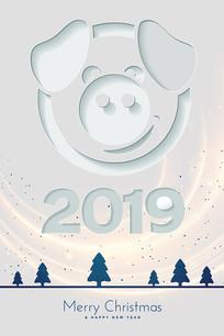 圣诞节创意猪海报