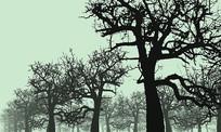 一片冬景树SU模型
