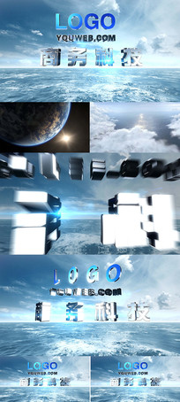 震撼科技3D质感LOGOae模板