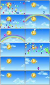 儿童节卡通太阳舞台背景视频