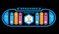 蓝色商务企业文化墙