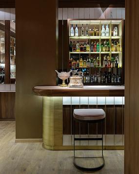 新中式复古酒吧吧台意向