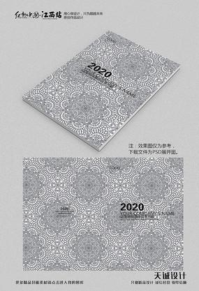 复古花纹画册封面 PSD