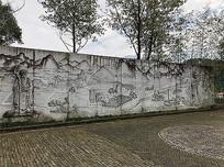 中式古代山水人物浮雕景墙 JPG