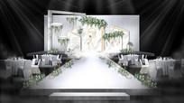 白绿色婚礼舞台背景板设计