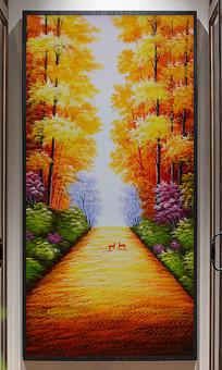 葱郁森林油画装饰玄关