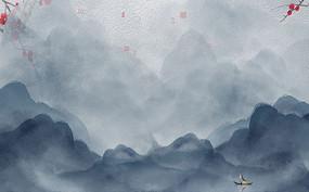 大气蓝色中式山水背景墙