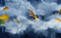高端蓝色大气鲤鱼创意山水