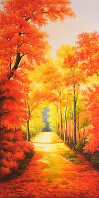 纯手绘金色枫叶风景油画玄关图