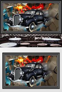 复古老爷车穿墙3D背景墙