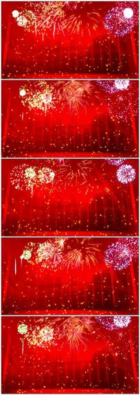 红色喜庆新春舞台烟花视频背景