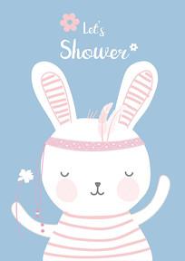 可爱小白兔卡通插画