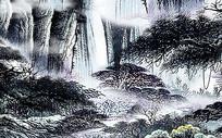 中国风中式水墨国画山水背景墙