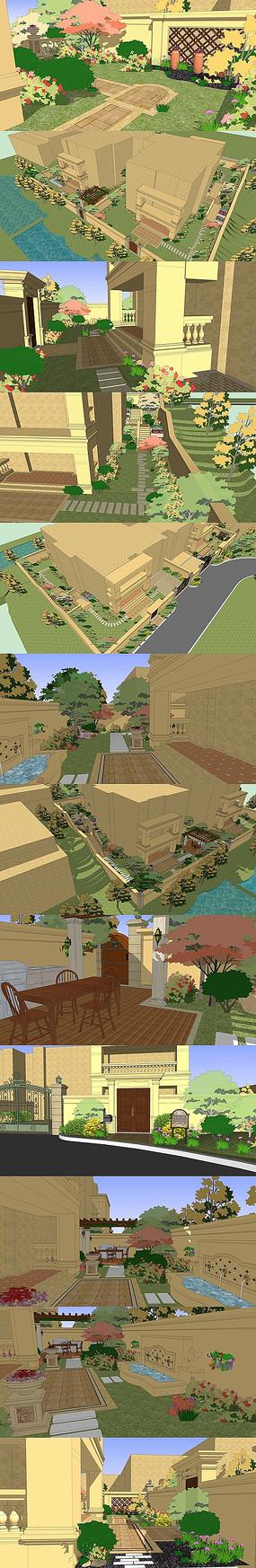 别墅花园景观方案SU模型