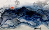 蓝色水墨烟雾意境背景墙