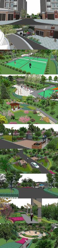小公园绿化景观SU模型