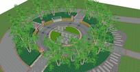 圆形小广场铺装形式SU模型