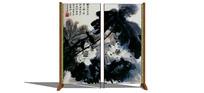 中式荷花国画屏风