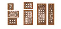 中式木雕花屏风组合模型