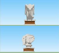 大象雕塑SU模型 skp