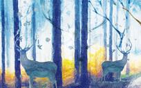 多彩色麋鹿森林背景墙