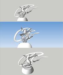 嫦娥雕塑SU模型 skp