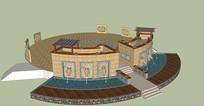 罗马式广场设计SU模型 skp