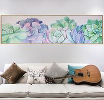 北欧植物花横幅床头装饰画
