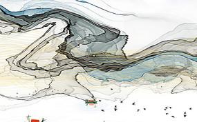 抽象线条水墨山水背景墙