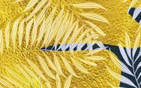 高端大气欧式金色叶子背景墙