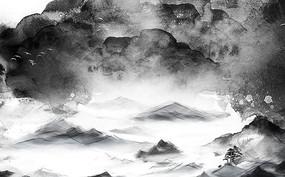 高端大气新中式山水背景墙