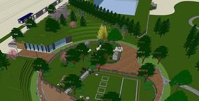 街头休闲公园SU模型