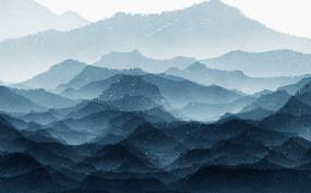蓝色新中式山水背景墙