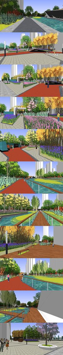 临水公园广场SU模型