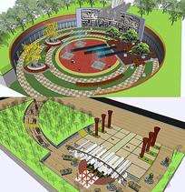 某城市广场改造节点SU模型