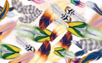 欧式多彩色羽毛背景墙
