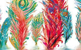 欧式多彩色羽毛创意背景墙