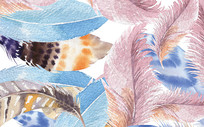 欧式多彩色羽毛装饰画背景墙