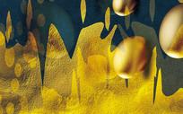 欧式金色金蛋创意背景墙