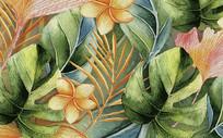 热带雨林复古叶子背景墙 PSD