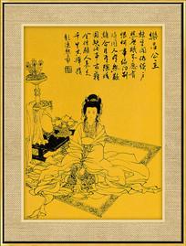 唐代线描仕女图装饰画