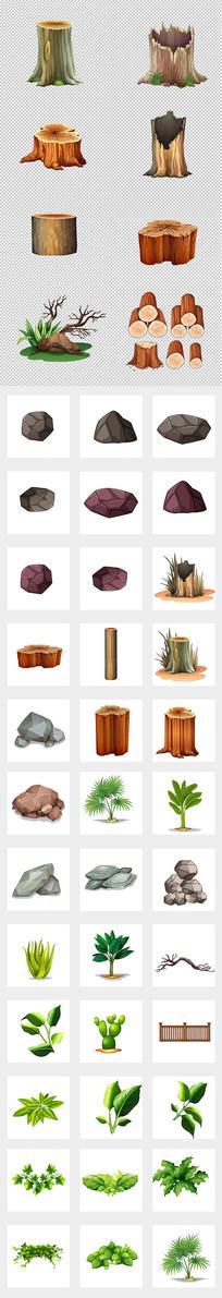 园林树木石头元素