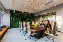 植物背景墙办公室会议室意向