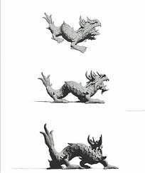中國龍雕塑SU模型