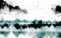 中式瀑布水墨山水背景墙