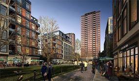 住宅区商业街景观效果图