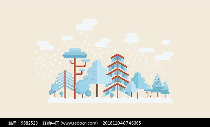 AI小清新下雪蓝色插画图片