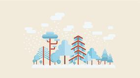AI小清新下雪蓝色插画