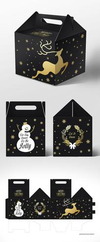 黑色高档新年圣诞节包装礼盒