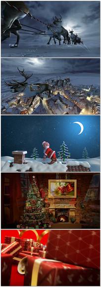 圣诞老人雪夜送礼物视频